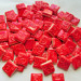 Embossed handmade neon red ceramic square tiles