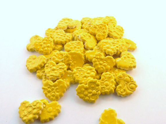 15 handmade embossed neon yellow heart tiles
