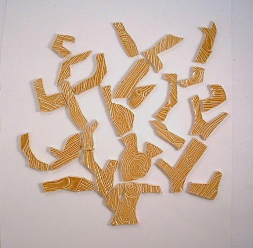 25 handmade wood grain embossed tree branch ceramic tiles