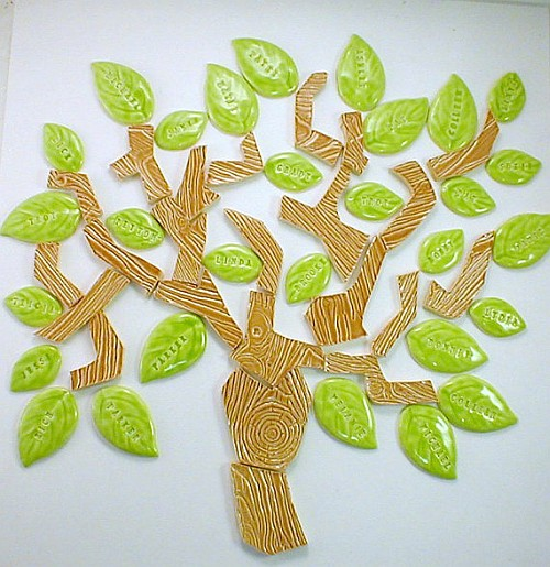 25 handmade wood grain embossed family tree tiles