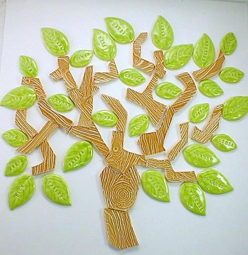 25 handmade wood grain embossed family tree tiles