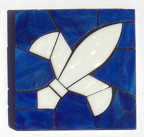 Fleur de Lys design stained glass coasters