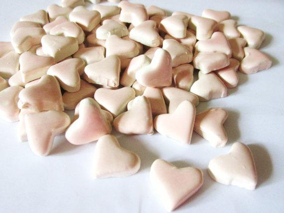 50 handmade pink heart tiles