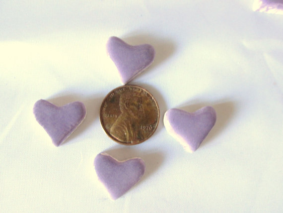 50 handmade purple heart tiles