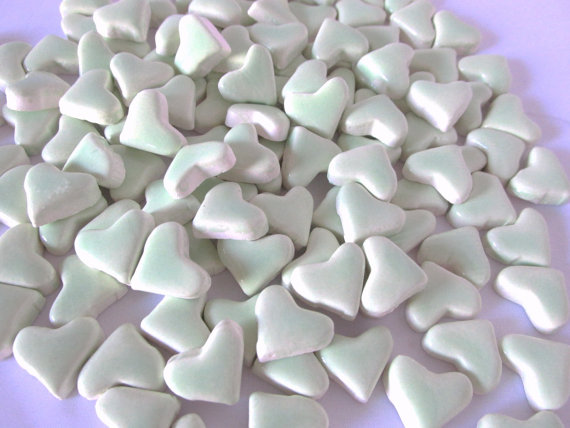 50 handmade sea foam green heart tiles