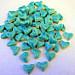50 handmade turquoise heart tiles
