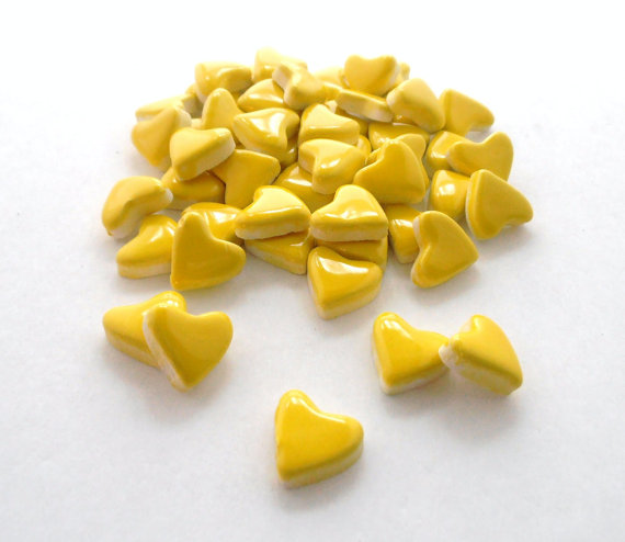 50 handmade neon yellow heart tiles