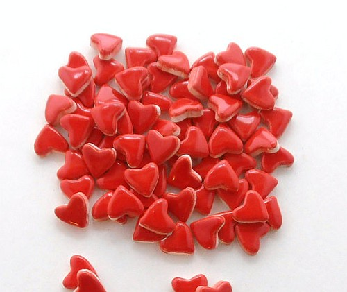 50 handmade neon red small ceramic heart tiles