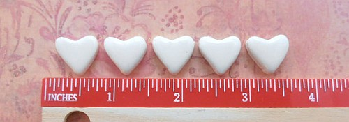 50 handmade glossy white small ceramic heart tiles