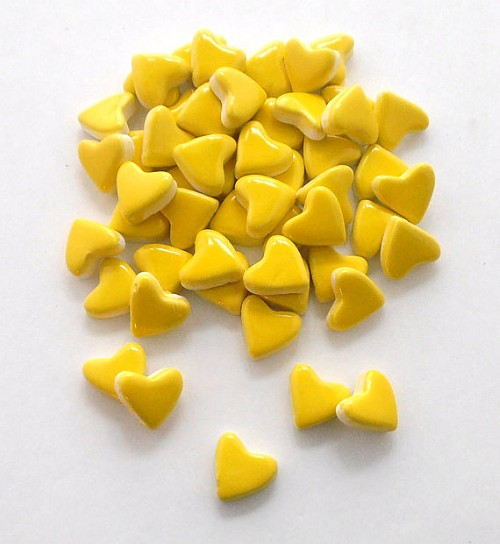 50 handmade neon yellow small ceramic heart tiles