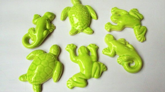 6 handmade 3D tiles
