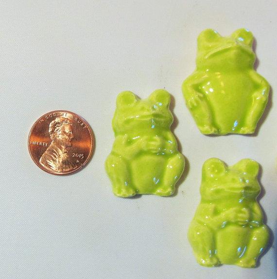 6 handmade 3D frog tiles