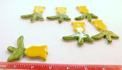 6 yellow and green ceramic flower tiles