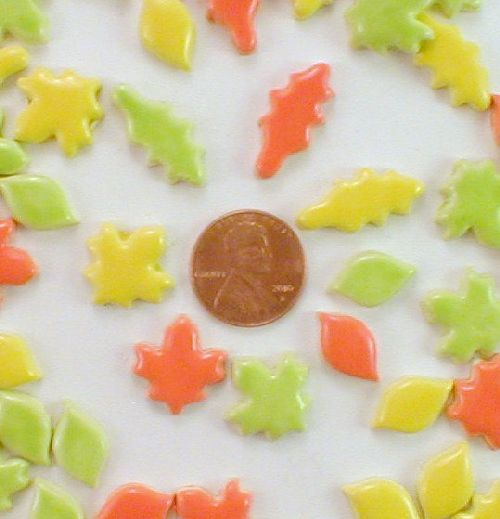 75 handmade micro ceramic leaves