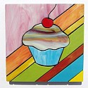 Cupcake design stained glass coasters