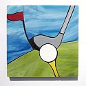 Golf ball club and tee design stained glass coasters