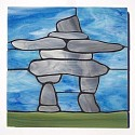 InukShuk design stained glass coasters