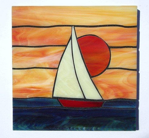 Sailboat design stained glass coasters