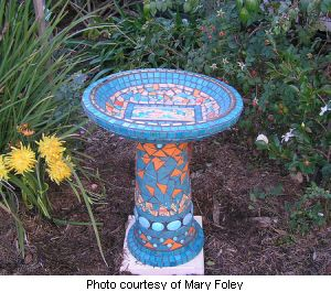 Stained Glass Azalea Mosaic Bird Bath
