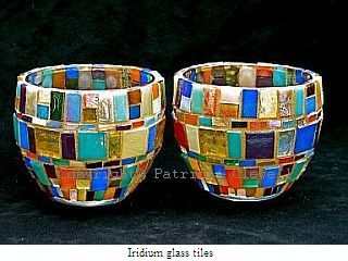 Patricia Clewell Mosaic Candle Holder made of Iridium glass tiles