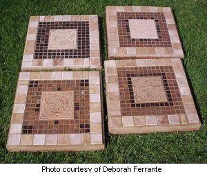 Deborah's set of four mosaic stepping stones