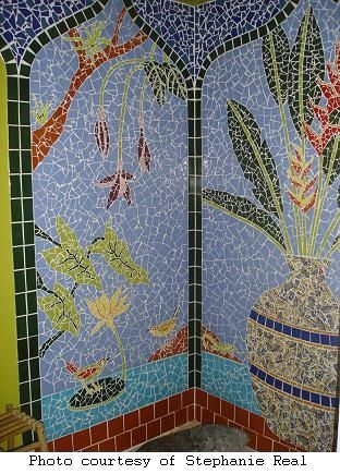 Stephanie Real's mosaic shower stall
