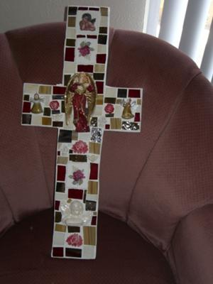 Angels and Roses Mosaic Cross
