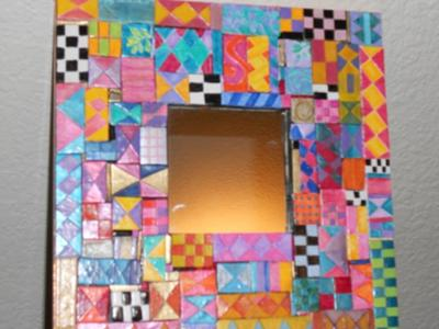 Colorful hand-made tile mirror