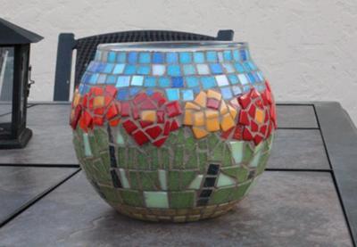 Flower Garden Mosaic Candleholder or Vase