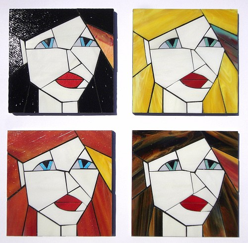 Set of 4 stained glass coasters from the Girls series