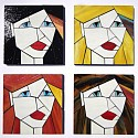 Set of 4 The Girls series stained glass coasters
