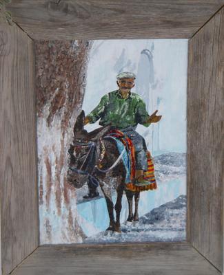 Cretan donkey and rider