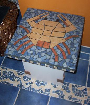 Mosaic crab as a table
