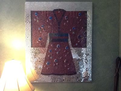 Mirror and stained glass kimono on cement backer board