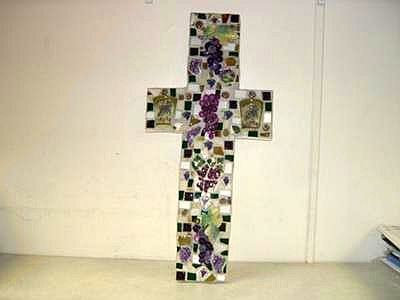 Purple Grapes Mosaic Cross