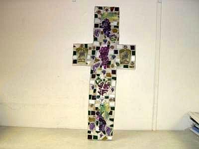 Purple Grapes Mosaic Cross