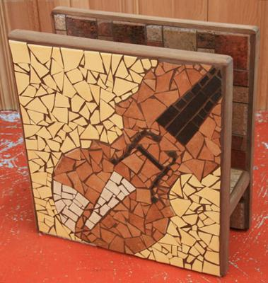 Mosaic Violin newspaper stand on one side