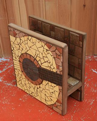 Mosaic Guitar newspaper stand on opposite side