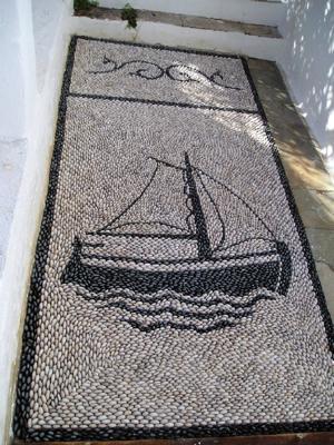 Mosaic Pebble Sail Boat