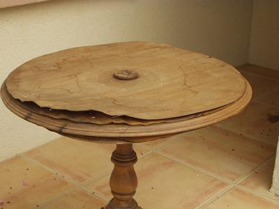 Damaged table before start of project