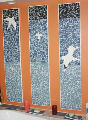 Mosaic Seabirds over the bath tub