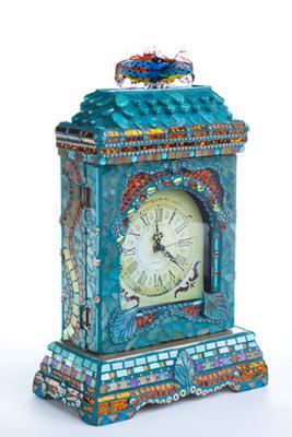 Mosaic wooden clock box, front view