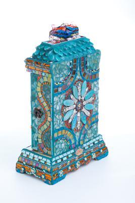 Mosaic wooden clock box, back view
