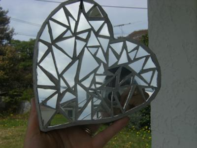 Sliver hanging mosaic heart, other side