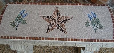 Texas Star & Bluebonnets on Concrete Bench
