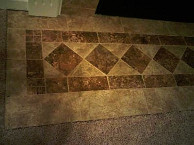 Tiled fireplace base