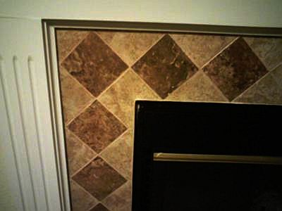 Tiled fireplace corner