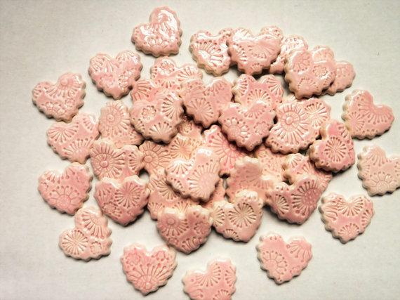 15 handmade embossed tearose pink heart tiles