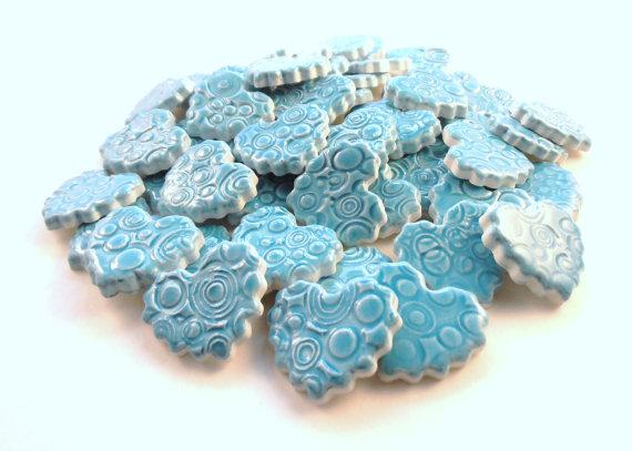 15 handmade embossed carribbean blue heart tiles