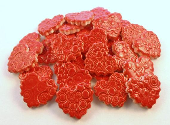 15 handmade embossed neon red heart tiles